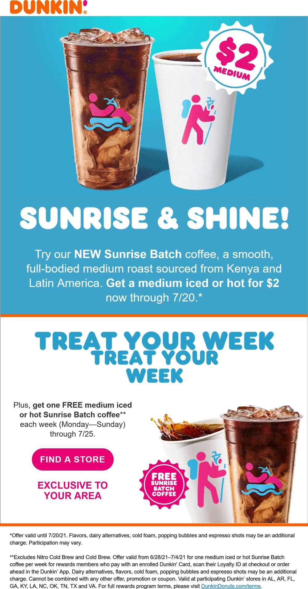 Dunkin restaurants Coupon  Medium iced or hot coffee = $2 also get one free weekly at Dunkin Donuts #dunkin