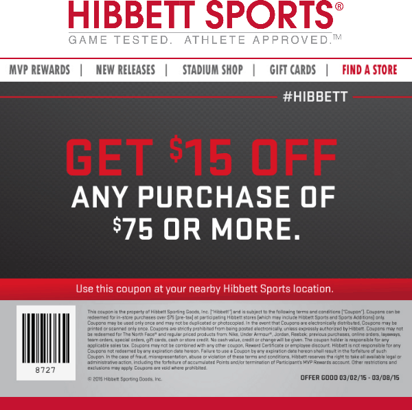 3b3f797b3de4 Hibbett Sports Coupon March 2019  15 off  75 at Hibbett Sports