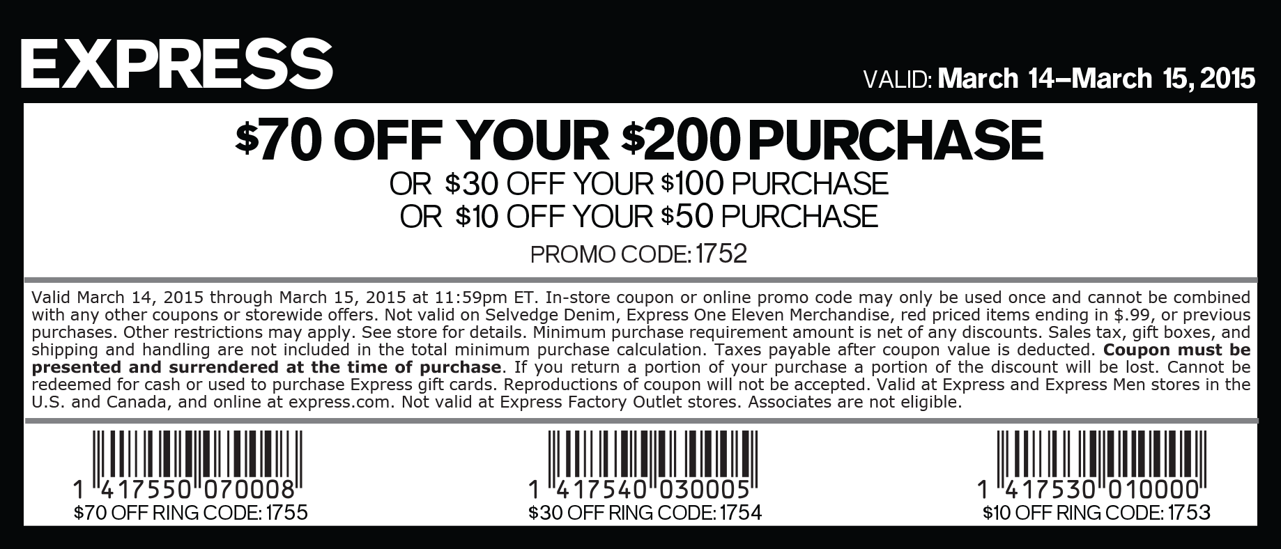 Express Coupons & Promo Codes | November Here are the hottest deals going on right now at Express. Click through and see what's hot today: Express coupons and limited-time sales are often listed right at the top of the page or just below, and beautiful new collections appear if you scroll down/5(23).