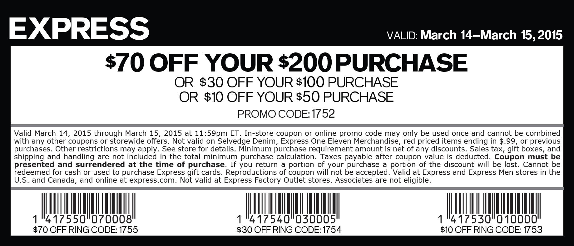 Express online coupon code 2018