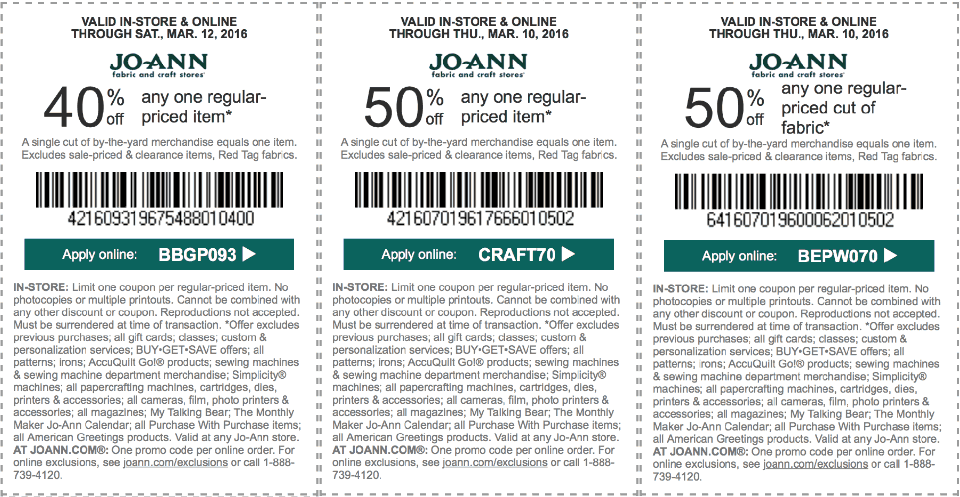 Jo-Ann Fabric coupons & promo code for [July 2020]