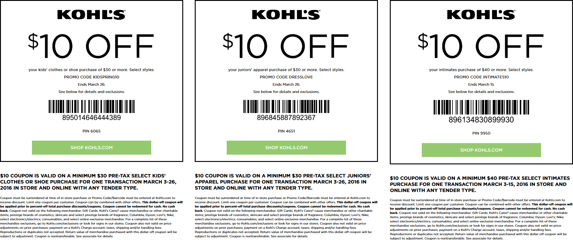 kohls $10 off $30 coupon june 2019