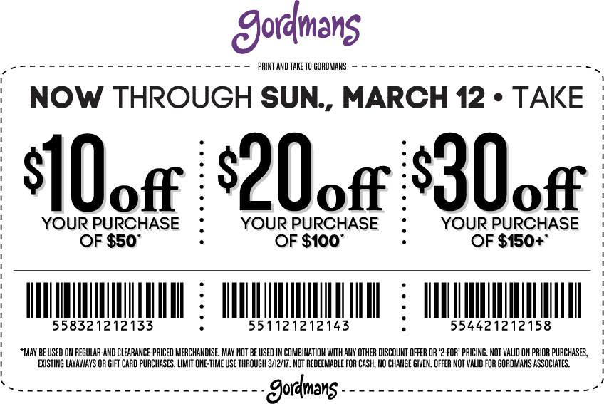 picture about Gordmans Printable Coupon titled Gordmans Discount coupons - $10 off $50 excess at Gordmans
