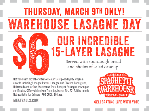 The Spaghetti Warehouse Coupons for Pasta