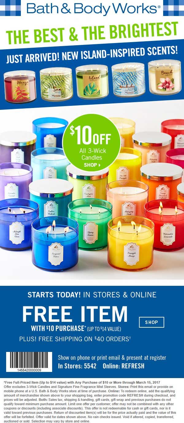 Bath Body Works Coupons 14 Item Free With 10 Spent