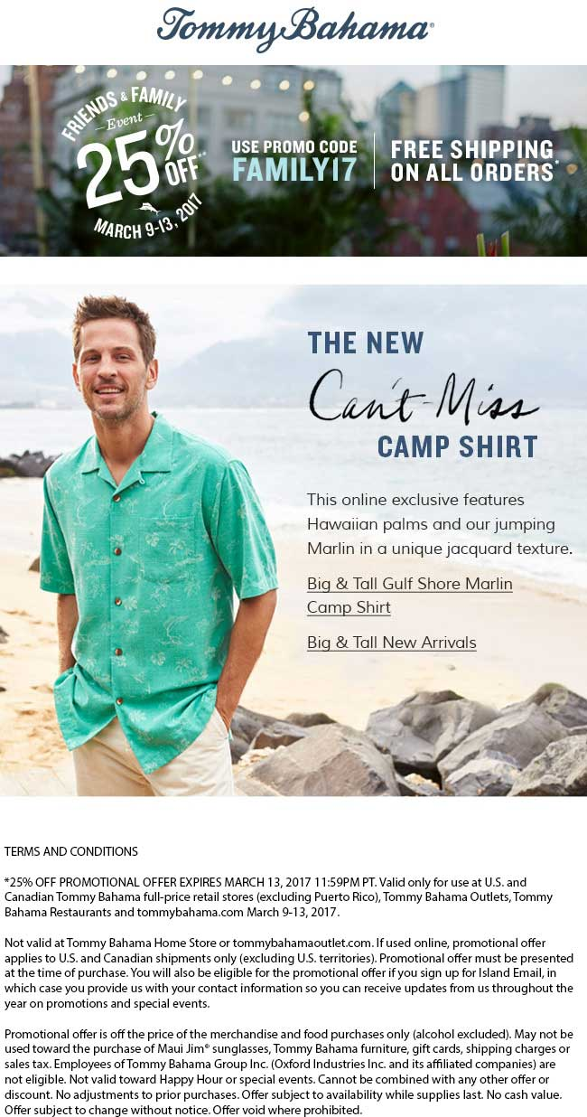 Tommy Bahama Coupon February 2020 25% off at Tommy Bahama, or online via promo code FAMILY17