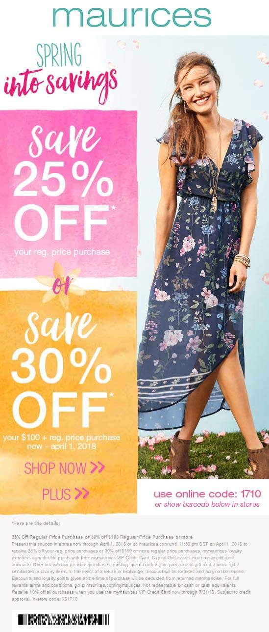 Maurices Coupon February 2020 25-30% off at Maurices, or online via promo code 1710