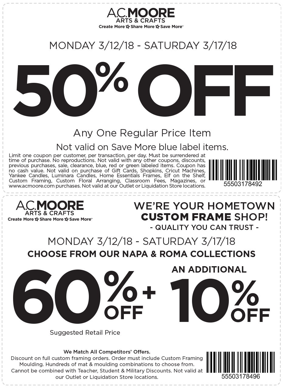 A C  Moore Coupons - 50% off a single item & more at A C  Moore