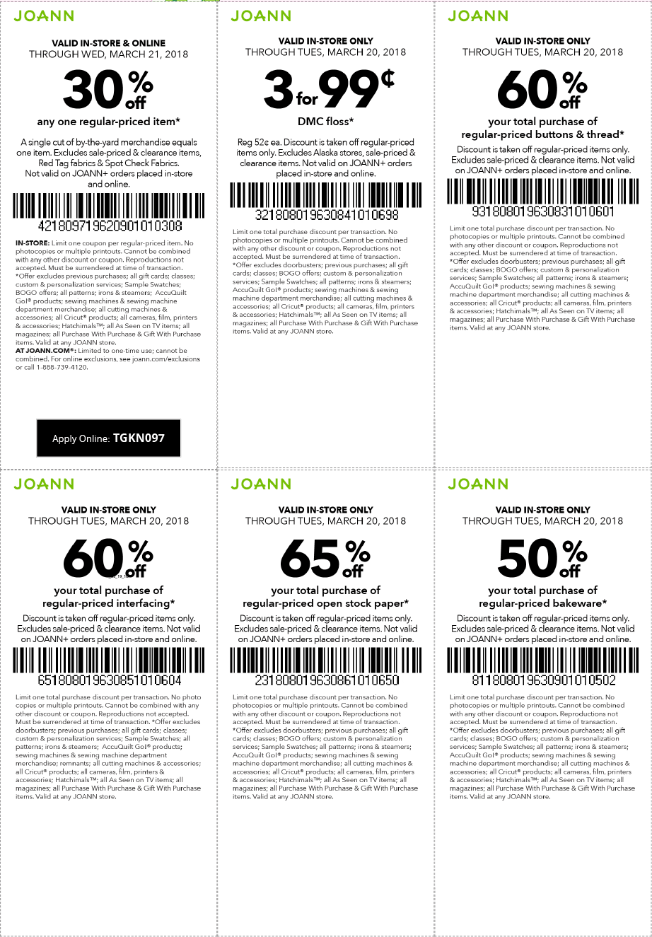 Joann Coupons - 30% off a single item at Joann, or online