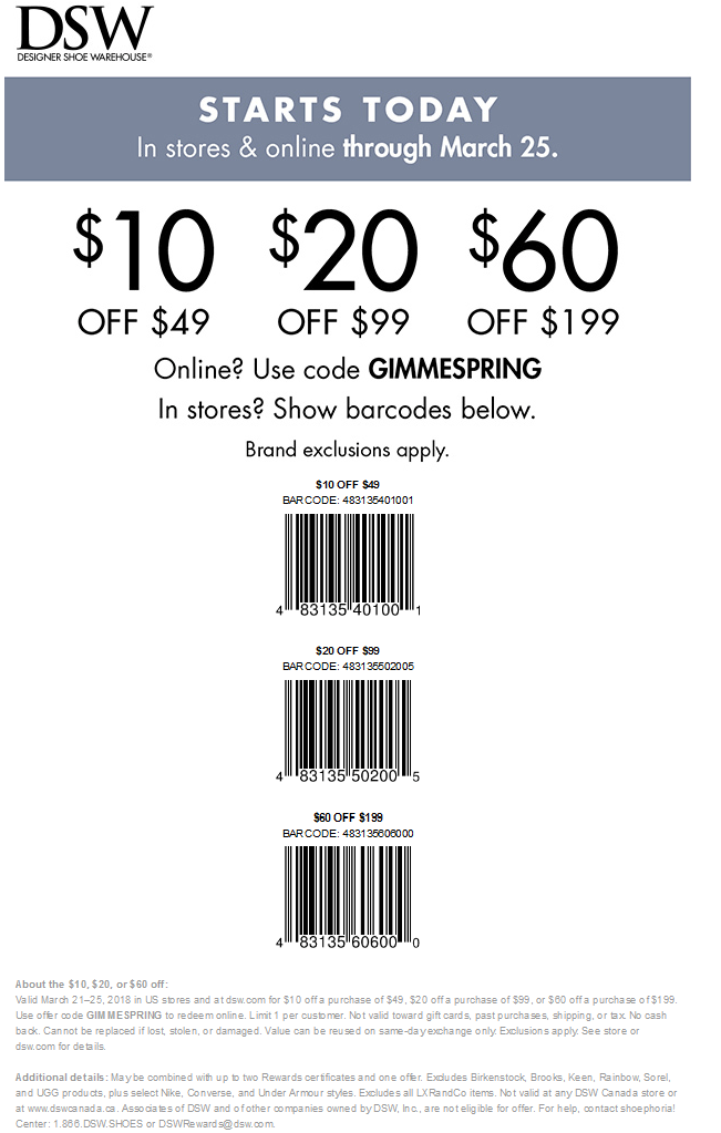 DSW Shoes Coupon February 2020 $10 off $49 & more at DSW Shoes, or online via promo code GIMMESPRING