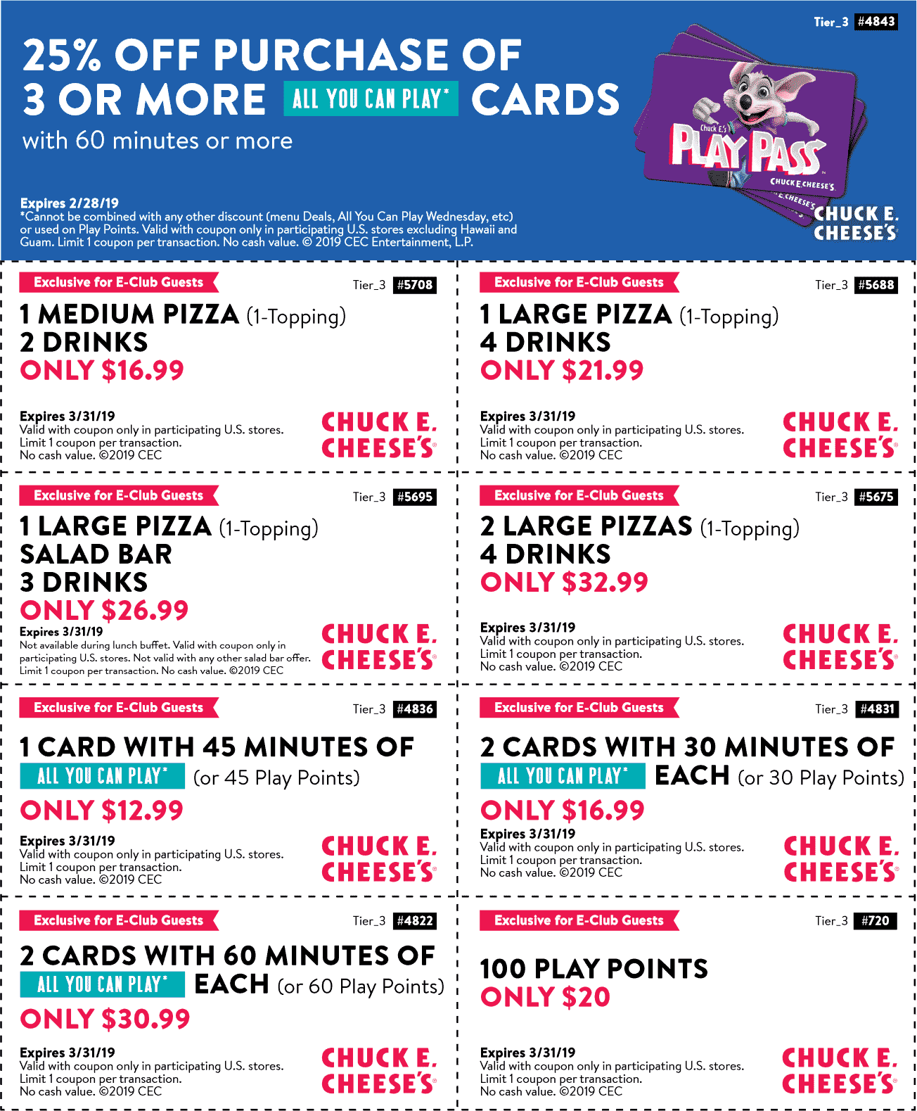 Chuck E. Cheese Coupon February 2020 25% off play cards & more at Chuck E. Cheese pizza