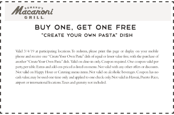 Macaroni Grill coupons & promo code for [January 2021]