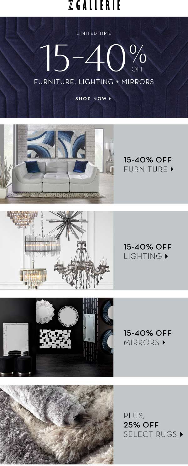 Z Gallerie Coupon February 2020 15-40% off furniture at Z Gallerie