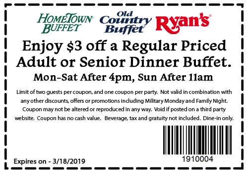 Hometown Buffet Coupon February 2020 $3 off dinner at Ryans, Hometown Buffet & Old Country Buffet