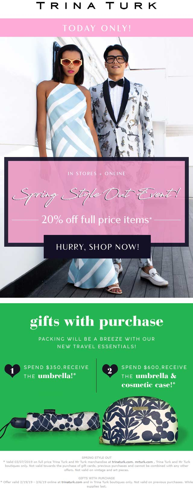 Trina Turk Coupon February 2020 20% off today at Trina Turk, ditto online