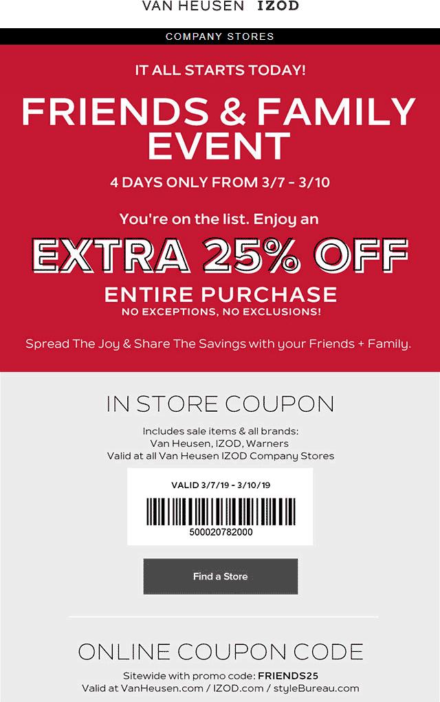 IZOD Coupon February 2020 Extra 25% off at Van Heusen & IZOD, or online via promo code FRIENDS25