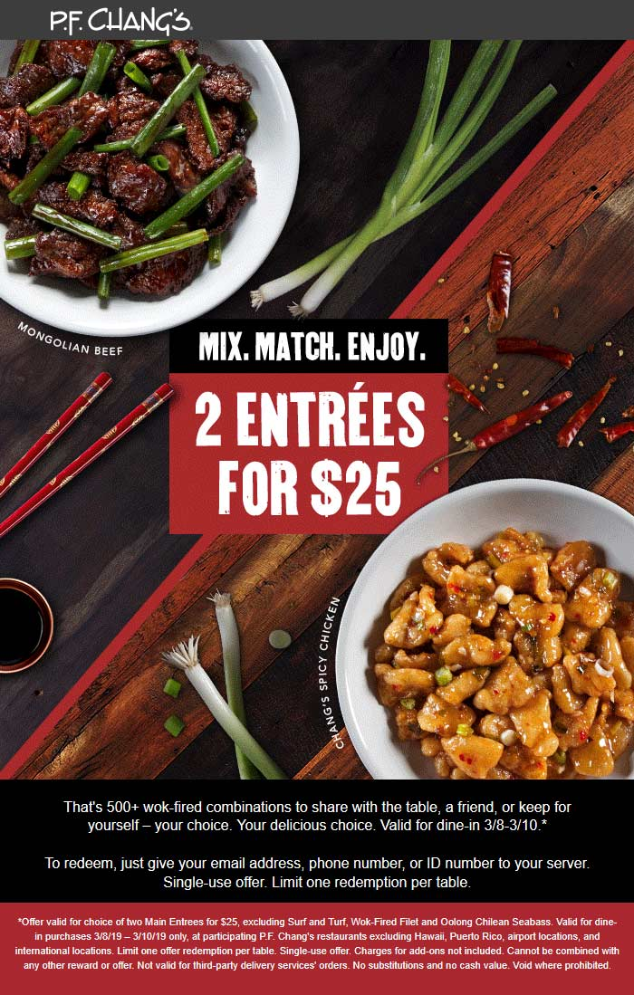 P.F. Changs Coupon July 2020 2 entrees = $25 at P.F. Changs