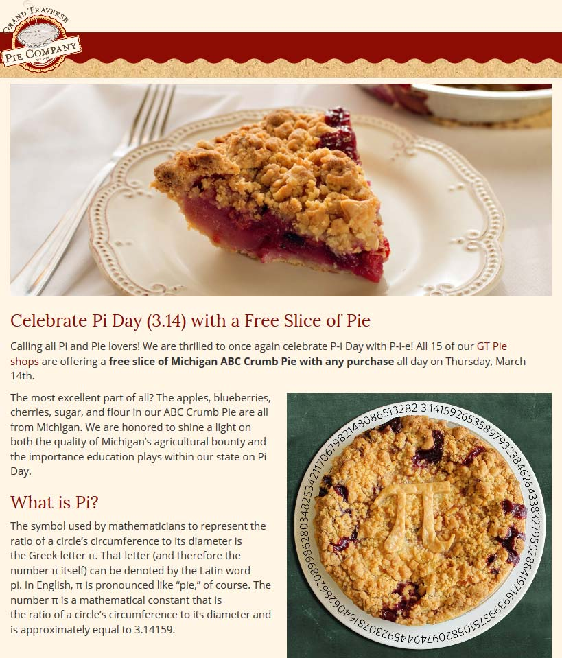 Grand Traverse Pie Company coupons & promo code for [April 2020]