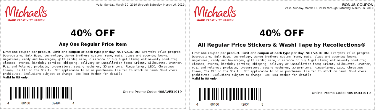 Michaels Coupon February 2020 40% off a single item at Michaels, or online via promo code 40SAVE31019