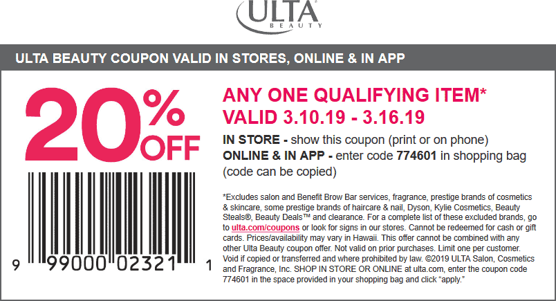 Ulta Coupon February 2020 20% off a single item at Ulta Beauty, or online via promo code 774601
