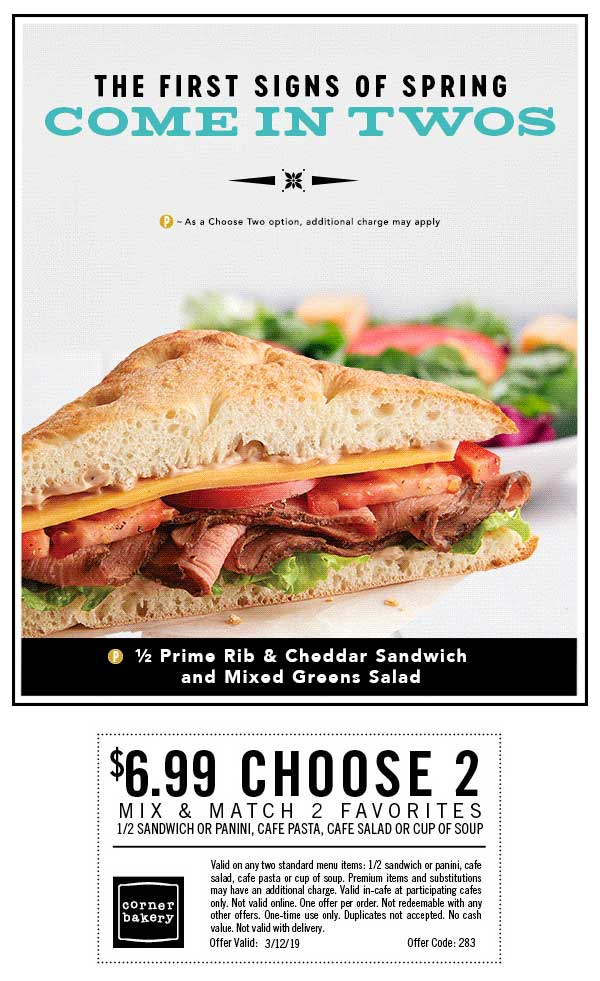 Corner Bakery Cafe Coupon August 2020 $7 choose 2 today at Corner Bakery Cafe restaurants