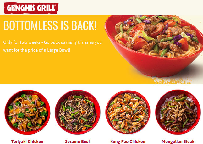 Genghis Grill coupons & promo code for [April 2021]