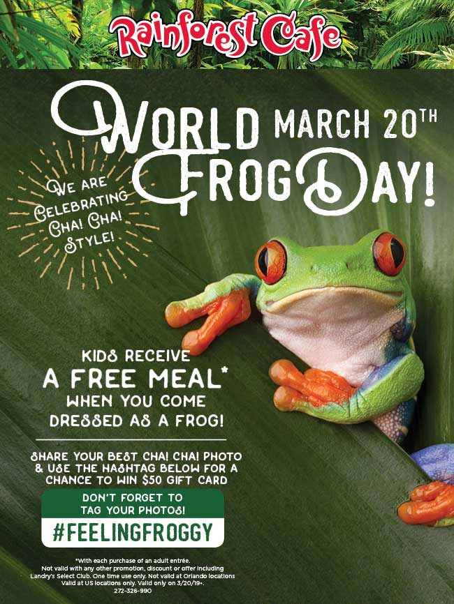 Rainforest Cafe Coupon February 2020 Free kids meal for frogs the 20th at Rainforest Cafe