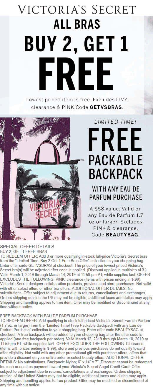 Victorias Secret Coupon July 2020 3rd bra free & more at Victorias Secret, or online via promo code GETVSBRAS