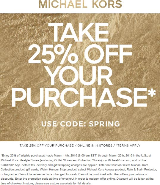 Michael Kors Coupon February 2020 25% off at Michael Kors, or online via promo code SPRING