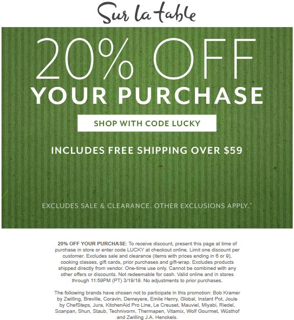 Sur La Table Coupon February 2020 20% off at Sur la Table, or online via promo code LUCKY