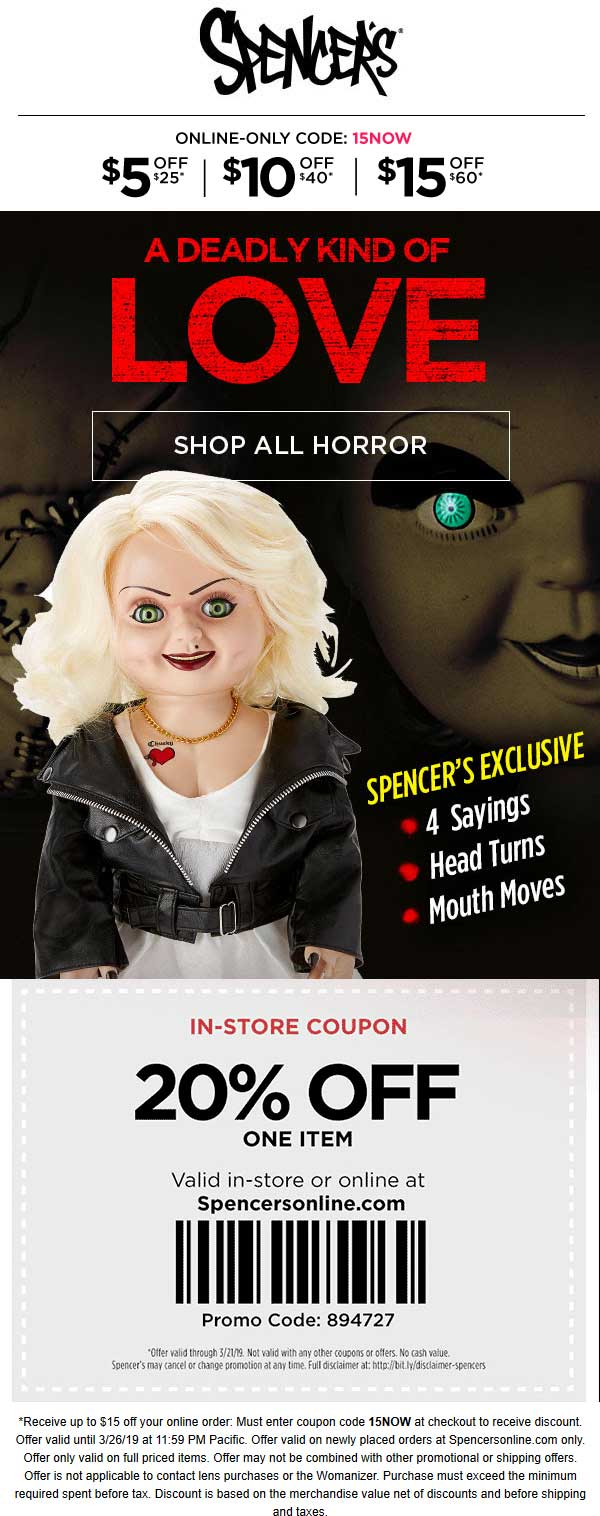 Spencers Coupon July 2020 20% off a single item at Spencers, or $5-$15 off $25+ online via promo 15NOW