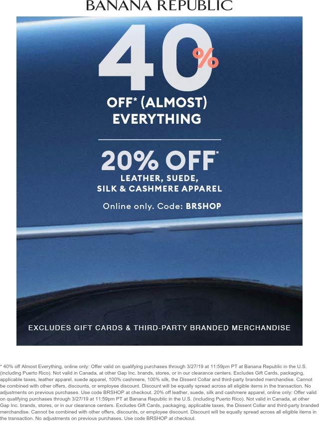 Banana Republic Coupon February 2020 40% off at Banana Republic, or online via promo code BRSHOP