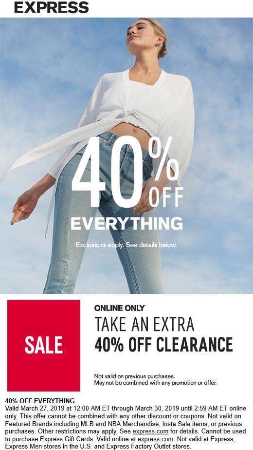 Express Coupon July 2020 40% off everything online today at Express