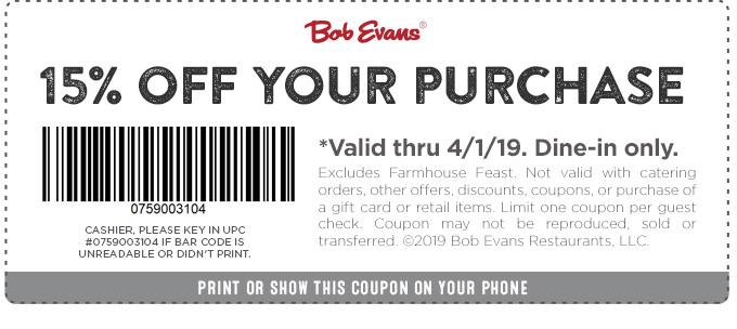 Bob Evans coupons & promo code for [April 2020]