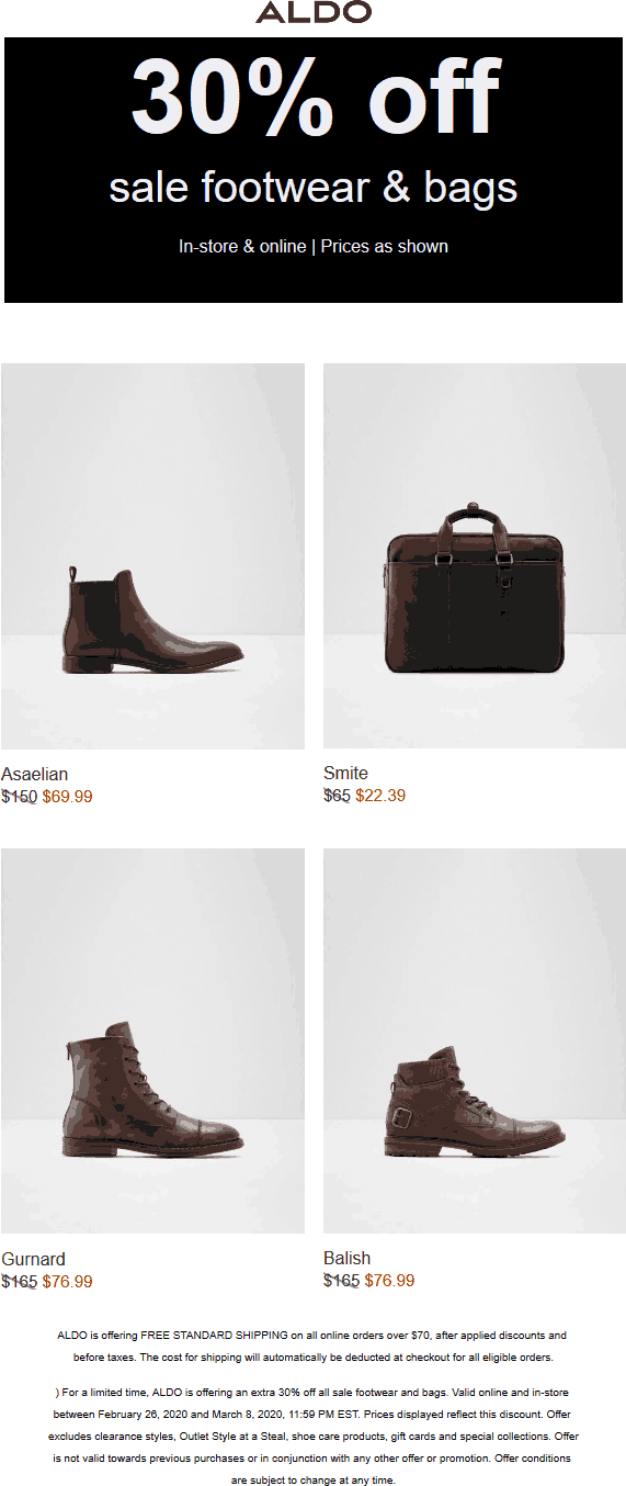 Aldo coupons & promo code for [August 2020]