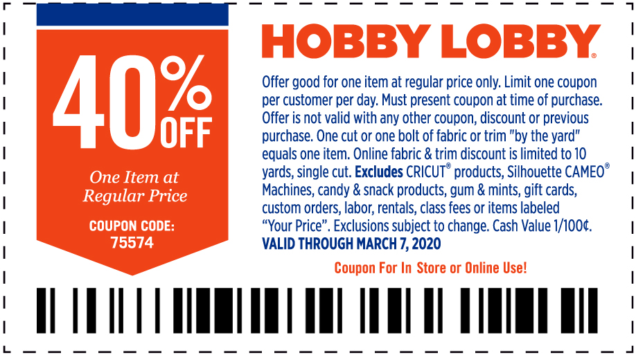 Hobby Lobby coupons & promo code for [April 2020]