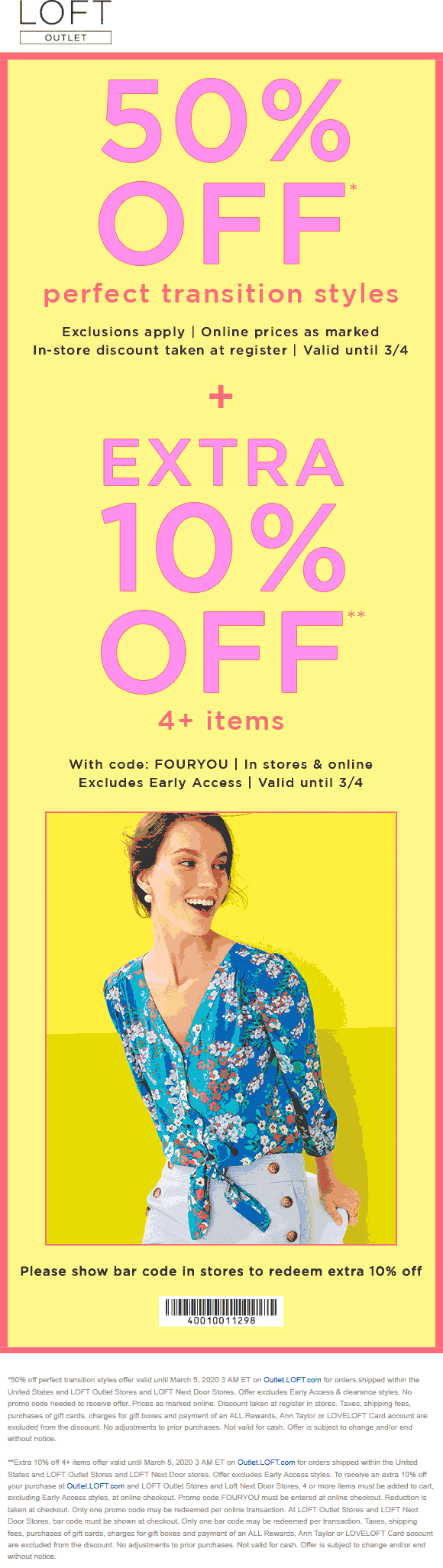 LOFT Outlet coupons & promo code for [April 2020]