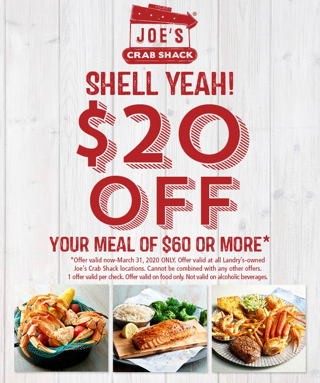 Joes Crab Shack coupons & promo code for [September 2020]