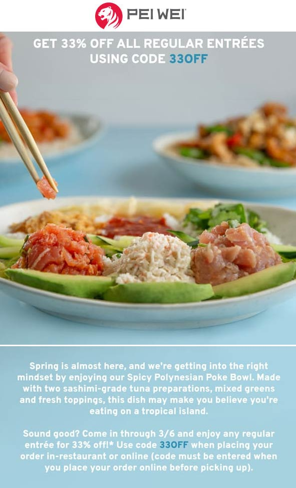 Pei Wei coupons & promo code for [April 2020]