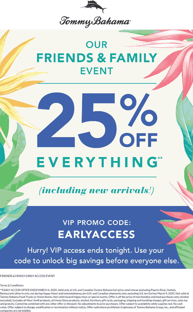 Tommy Bahama coupons & promo code for [January 2021]