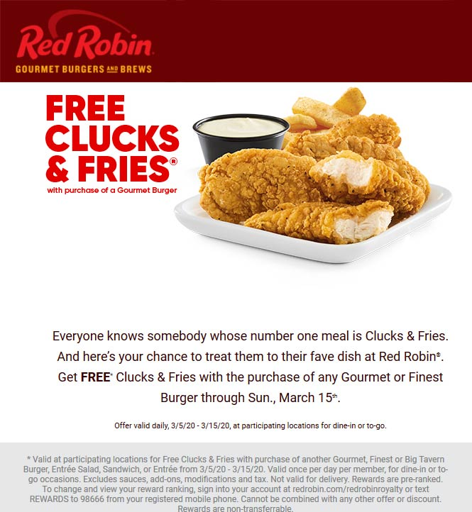 Red Robin coupons & promo code for [April 2021]