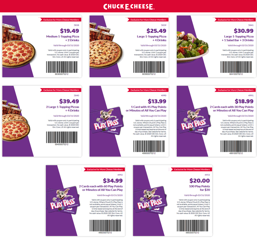 Chuck E. Cheese coupons & promo code for [July 2020]