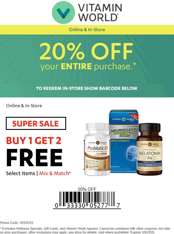 Vitamin World coupons & promo code for [February 2021]