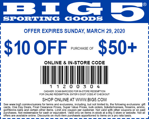 Big 5 coupons & promo code for [September 2020]