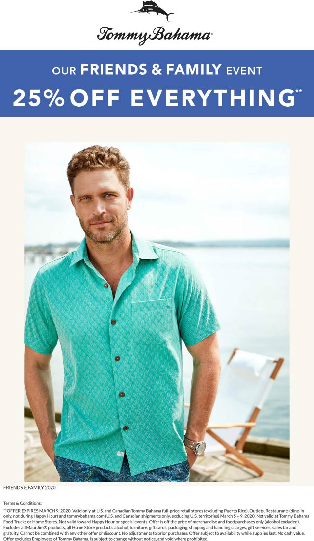 Tommy Bahama coupons & promo code for [April 2020]