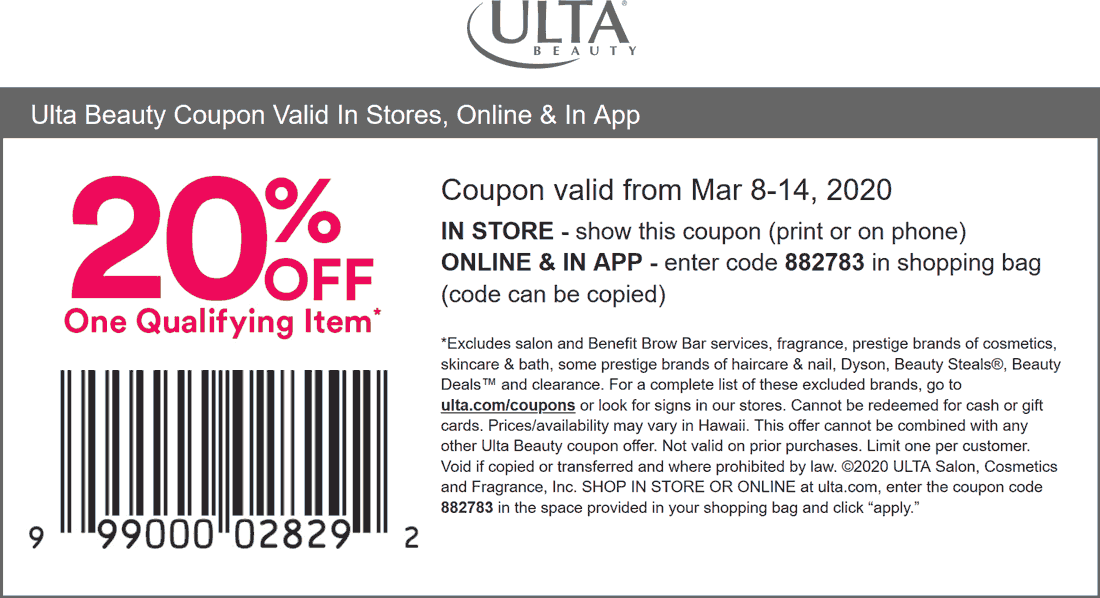 Ulta coupons & promo code for [October 2020]