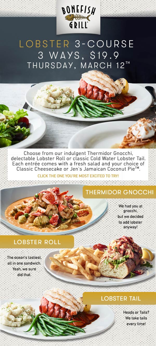 Bonefish Grill coupons & promo code for [July 2020]