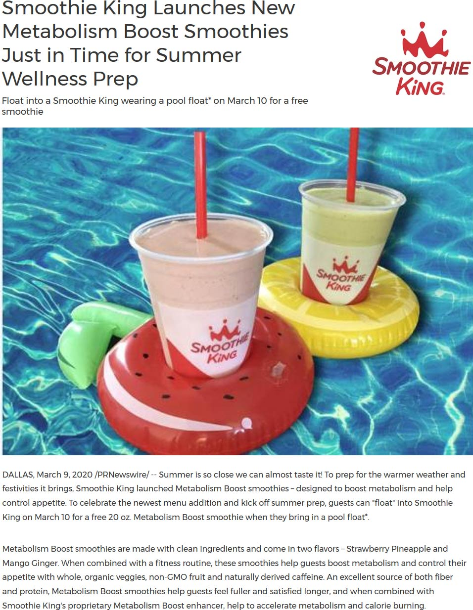 Smoothie King coupons & promo code for [January 2021]