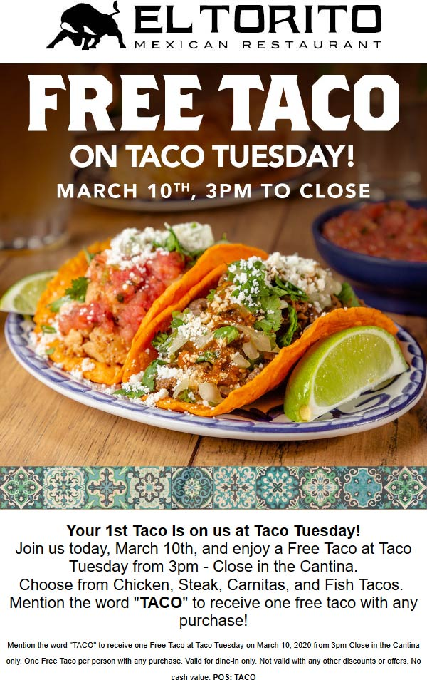 El Torito coupons & promo code for [October 2020]