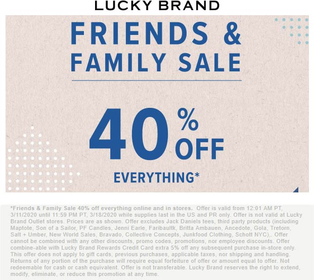 Lucky Brand coupons & promo code for [May 2021]